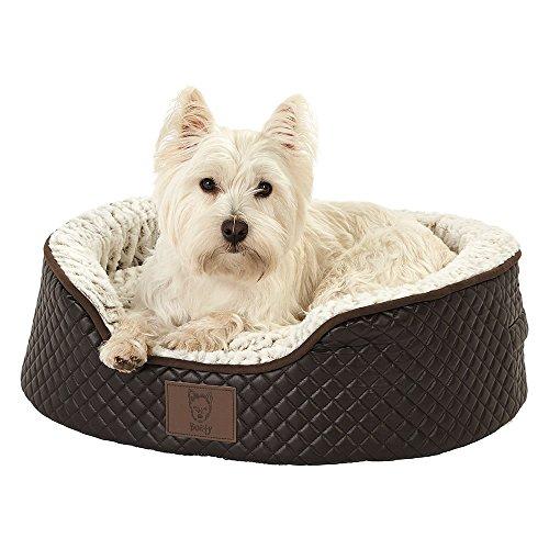Bunty Manhattan Quilted Leather Soft Fur Fleece Dog Bed Pet Cat Basket