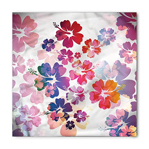 (Lunarable Hawaiian Bandana, Exotic Floral Island Theme Tropical Hawaii Flowers Pattern Print, Printed Unisex Bandana Head and Neck Tie Scarf Headband, 22 X 22 Inches, Purple Pale Pink and)