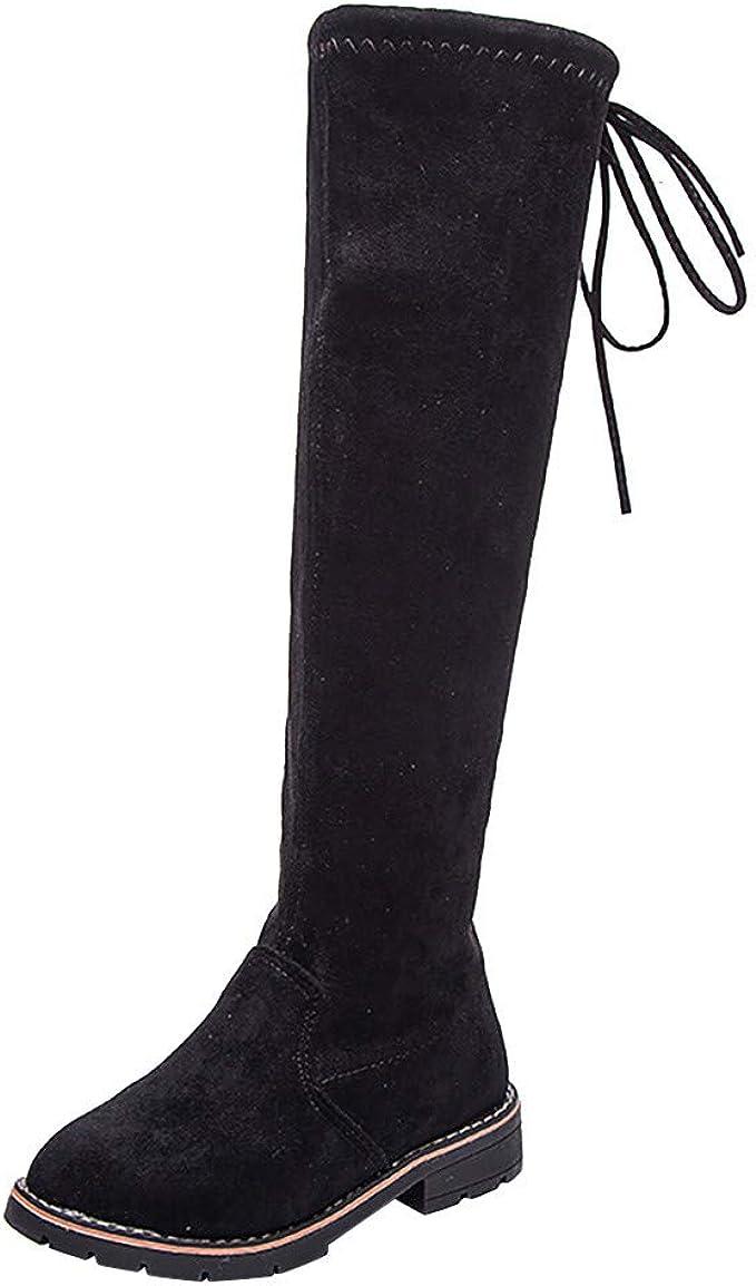 UK Childrens Girls Kids Low Heels Mid Calf Knee High Boots Tie Top Booties Shoes
