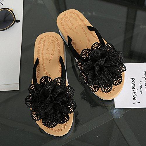 Btrada Kvinna Blomma Flip-flops Sommar Halkskydd Klipp Tå Flats- Mode Strand Sandal Svart
