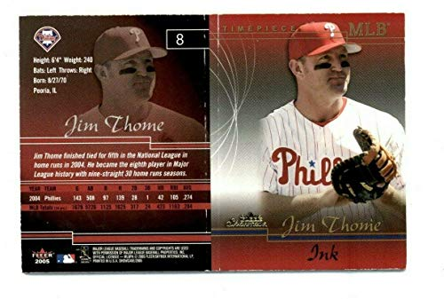 2005 Fleer Showcase Card - 2005 Fleer Showcase Timepiece Ink Jim Thome Game Used Bat Autograph 02/10 - Baseball Slabbed Autographed Cards
