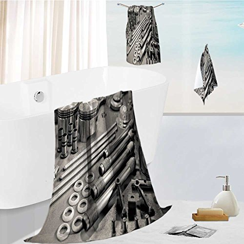 Family Big Bath Towel Set Collection of Sepia Toned Precision auto Engine Parts Laid Out in a Workshop Printing Print Bath Towel Super Absorbent Body Wrap Pool Towel