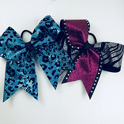 Two Bows - Turquoise Cheetah and Pink Glitter Hair Bows - Large Cheerleading Style Bows by Arrow and Bowss