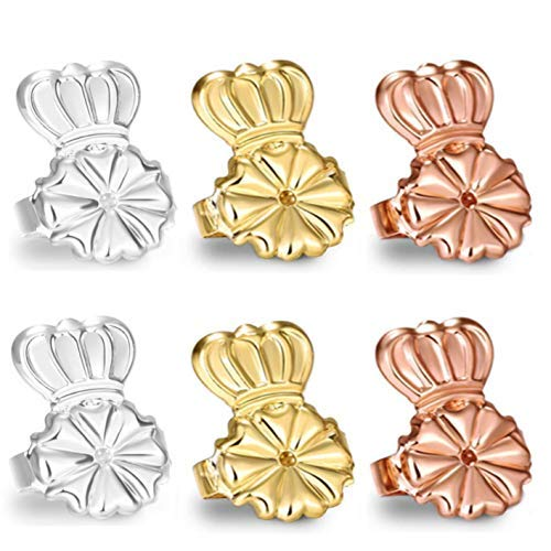 AmzonBasics - Original Magic Earring Lifters 3 Pairs of Adjustable Earring Lifts Earring Backs (Pair of Sterling Silver, Pair of 18K Gold Plated and Pair of Rose Gold)