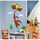 New New Giant CURIOUS GEORGE WALL DECALS Kids Room Stickers Decorations Monkey Décor