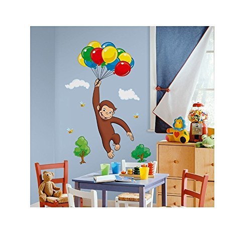 (New New Giant CURIOUS GEORGE WALL DECALS Kids Room Stickers Decorations Monkey Décor)