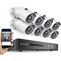 Amcrest ProHD 720P 8CH Video Security System - Eight 1.0-Megapixel (1280TVL) Outdoor IP67 Bullet Cameras, 2TB HDD, Night Vision, Remote Smartphone Access, White Mid (AMDV7208-8B-W)