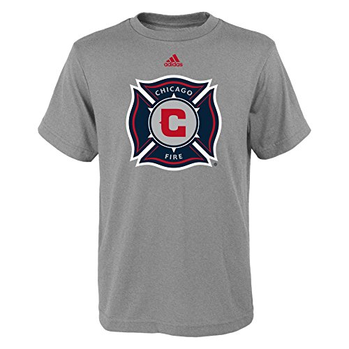 fan products of MLS Chicago Fire Boys -Primary Logo Short sleeve Tee, Heather Grey, Small (8)