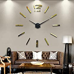 Opino Wall Sticker, Digital DIY Wall Clock Modern Art Acrylic 3D Mirror Sticker Home Office Decor (Gold)