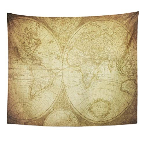(Emvency Decor Wall Tapestry Old Vintage Map of The World 1675 Ancient Antique Parchment Africa Atlas Wall Hanging Picnic for Bedroom Living Room Dorm 60x50 Inches)