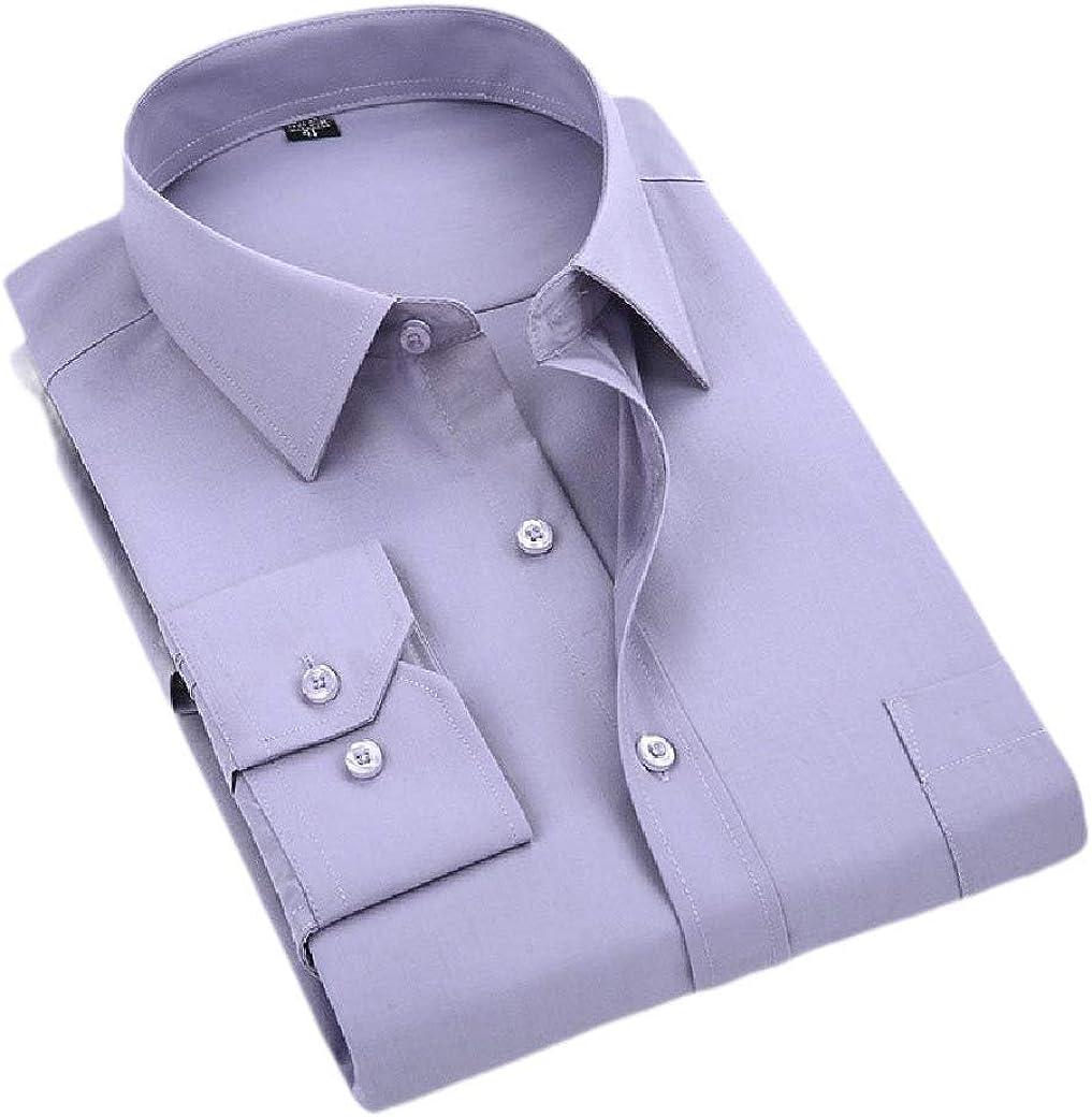 Fiere Mens Simple Business Button Western Shirt Long-Sleeve Dress Shirts