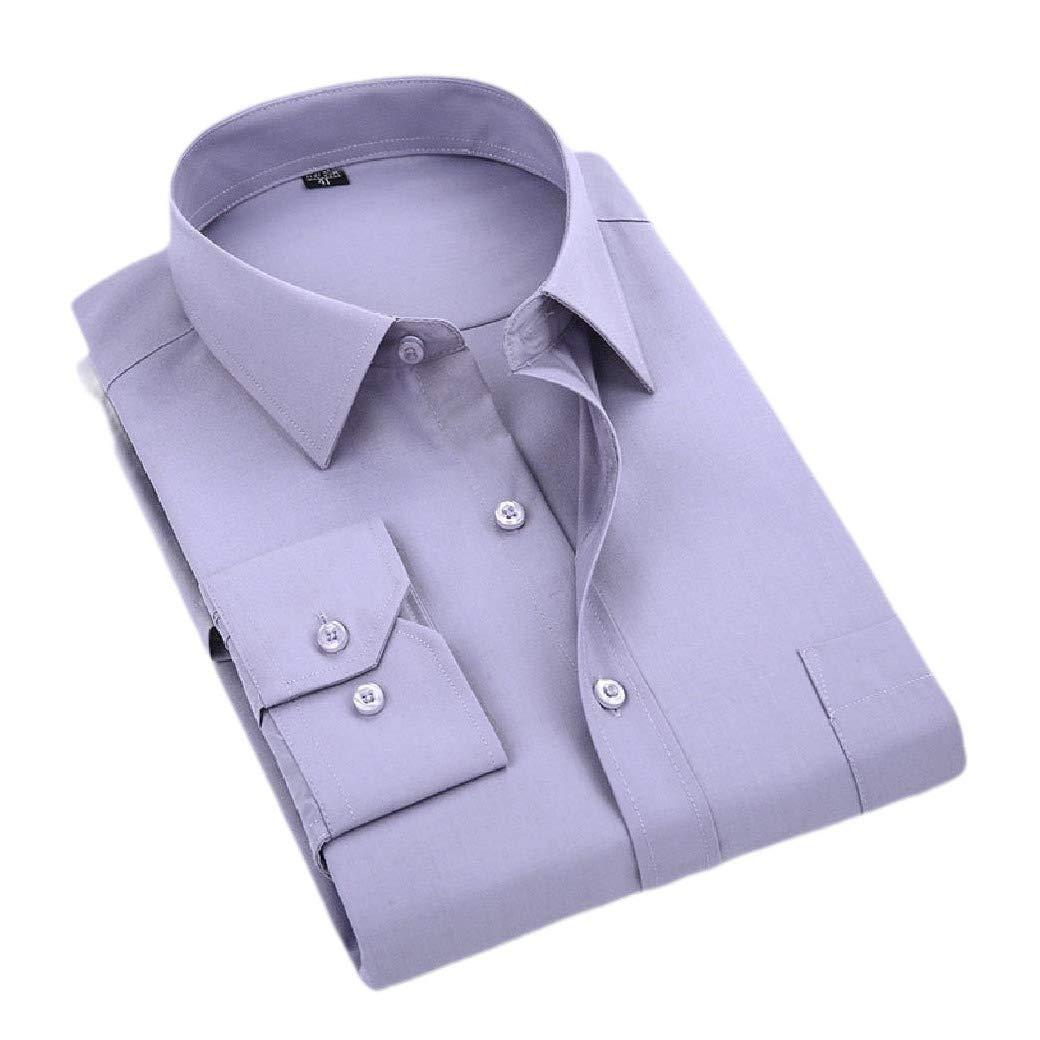 HEFASDM Mens Long-Sleeve Button Pure Colour Shirt Business Dress Shirts
