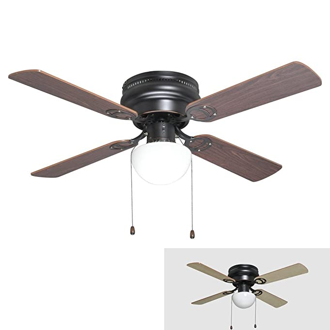 Oil Rubbed Bronze 42-Inch Hugger Low Profile Flush Mount Ceiling Fan with Light Kit