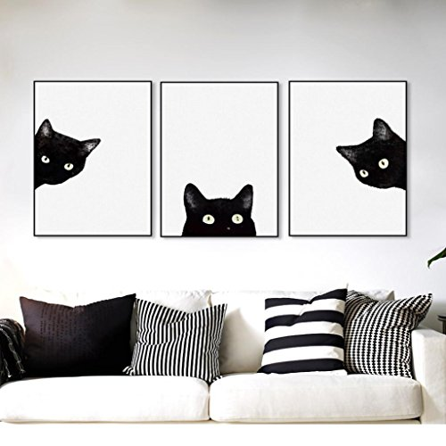 Catnew 3Pcs Cute Black Cats Canvas Frameless Painting Murals Wall Art Home Room Caft Decor Gift size 3040cm