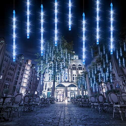 8 R/öhren 192 LED Meteorschauer Lichterkette Au/ßen wasserdicht Lichterkette f/ür Halloween Weihnachten Urlaub Party Zuhause Terrasse Outdoor Dekoration-Blau Meteorschauer Regen lichter 30CM