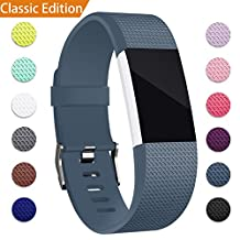 For Fitbit Charge 2 Band, Hotodeal Classic Soft TPU Adjustable Replacement Bands Fitness Sport Strap for Fitbit Charge 2, Silver/Rose Gold Buckle, Small Large