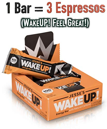 All Natural Caffeinated Energy Bar by Jesse's WakeUP! Dark Chocolate Crispy Rice Bar, 100 Calories, Vegan, Kosher, Gluten Free, Nut Free, Non-GMO and Made with Love ❤ (6 Count)