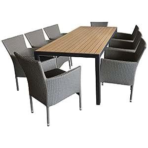 Multistore 2002. Muebles de Jardín muebles de jardín Conjunto de asiento de asiento Grupo–Mesa de jardín, 205x 90cm, polywood de mesa marrón + 8x jardín Sillón, ratán, apilable, de color gris jaspeado, incluye cojín