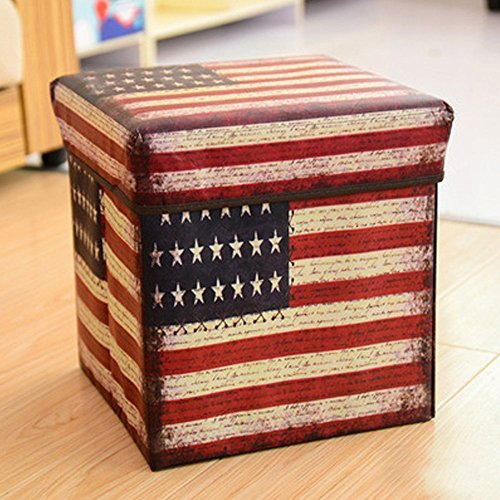 X Hot Popcorn Non-Woven Multi Functional Folding Ottoman Storage Stool Multi Creative British Retro Collapsible Cube (American flag) by X Hot Popcorn