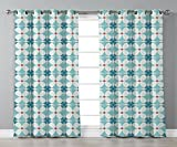 Stylish Window Curtains,Ikat Decor,Exotic Floral Geometric Ikat Style Traditional Oriental Indigenous Classic Retro Decor,Blue White Red,2 Panel Set Window Drapes,for Living Room Bedroom Kitchen Cafe