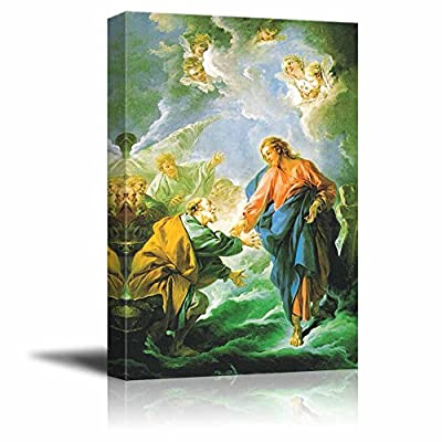 Unbelievable Creative Design, Saint Peter Attempting to Walk on Water by François Boucher Print Famous Oil Painting Reproduction, Made With Love