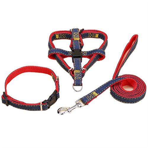 YUAKOU Dog Leash Harness Set Adjustable Heavy Duty Denim Easy Step in Collar Set for Pet of All Sizes Perfect for Daily Training Walking Running