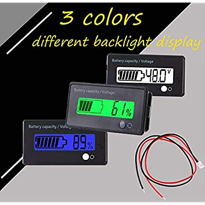 Multifunctional 48V LCD Battery Capacity Monitor Gauge Meter for Lead-Acid Battery Motorcycle Golf Cart Car, Alarm Function: Automotive