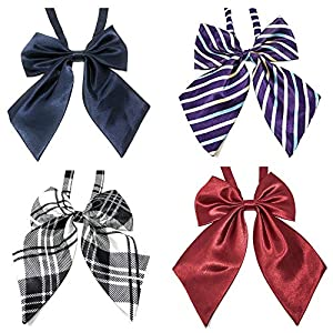 Rusoji 4pc Women's Ladies Adjustable Pre-Tied Ruffled Large Ribbon BowTie Neck Ties