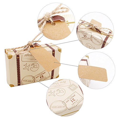 VGoodall Box 50pcs Mini Suitcase Favor Candy Vintage Kraft Paper with Tags and Burlap Twine for Wedding/Bridal Party Decoration by VGoodall (Image #4)