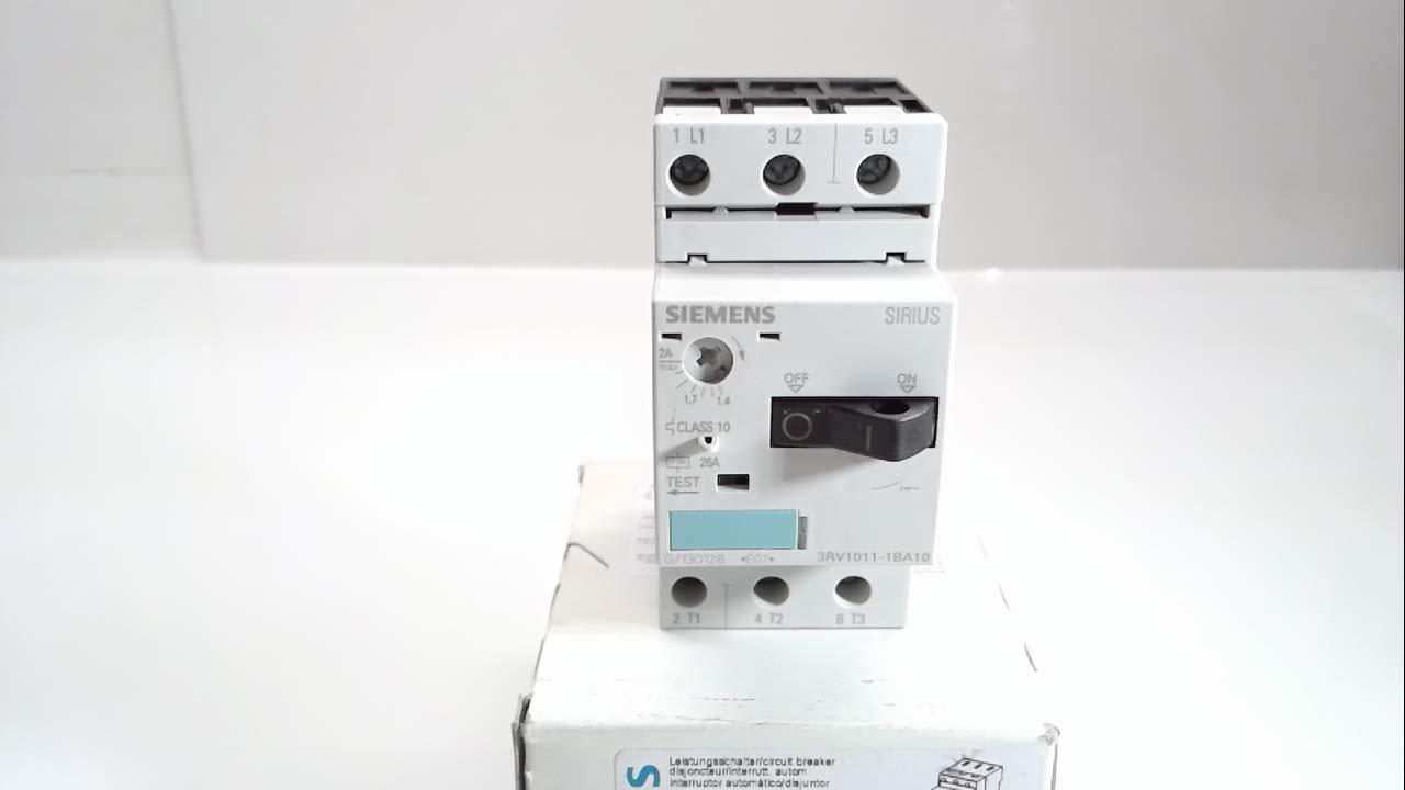 Siemens 3RV1011-1BA10 SIRIUS 3RV1 Circuit Breaker Max 690 V 50//60 Hz 1.40-2.00 A
