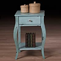 Alexandra Distressed Robin Egg Blue 1-drawer Nightstand Bedstand