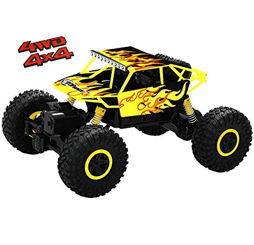 (Top Race Remote Control Monster Truck RC Rock Crawler, 2.4Ghz Transmitter, 4WD Off Road RC Car - TR-130Y)