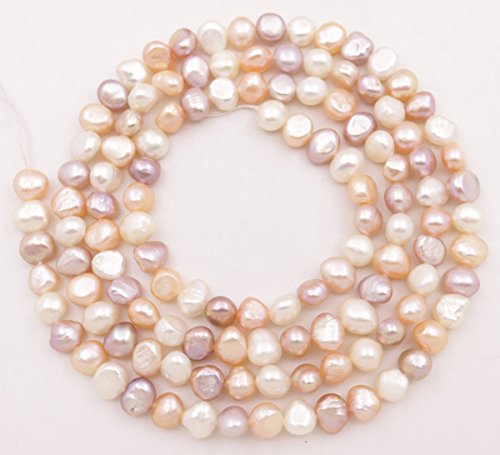 33 inches long 7-8mm real white pink purple baroque pearl loose beads necklace making