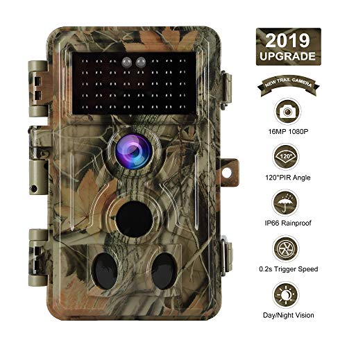 【2019 Upgrade】 Trail Camera 16MP 1080P Game Camera with No Glow Night Vision Up to 65ft 0.2s Trigger Time Motion Activated 2.4