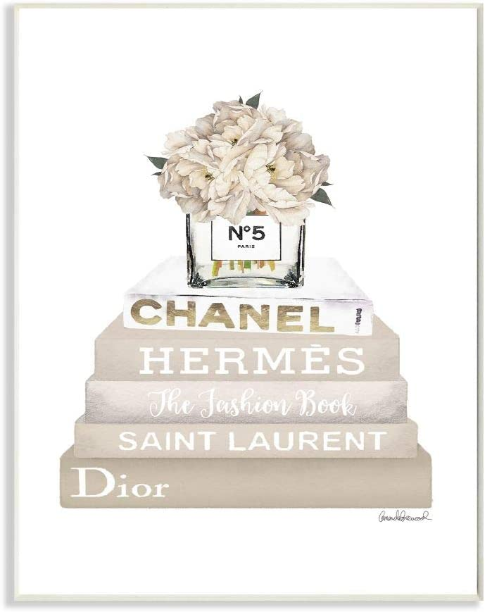 The Stupell Home Décor Collection High Fashion Bookstack with Tan Flowers Wall Plaque Art, 10 x 15, Multi-Color