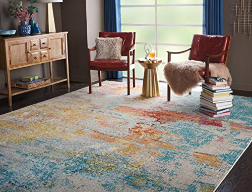 """Nourison Celestial Modern Abstract Area Rug, 5'3"""" x 7'3"""" (5x7), Sealife Multicolor Grey from Nourison"""