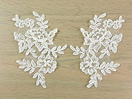 Naomi corded embroidery couture bridal lace appliques ivory per