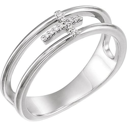 14K White .03 CTW Diamond Negative Space Cross Ring (Negative Space Cross)