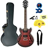 Ibanez AM53 Artcore Series Hollow-Body Electric Guitar, Sunburst Red Flat, with Case and Accessory Kit