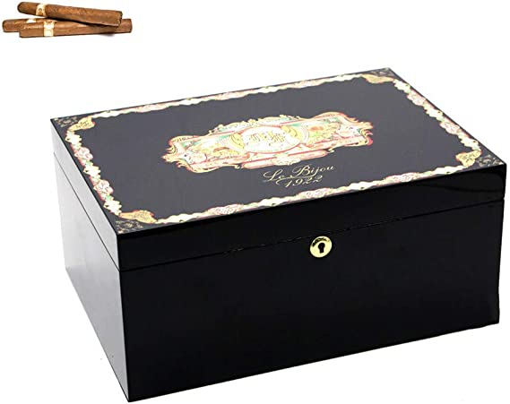 LNLN Humidor De Puros Superficie Redwood Calidad Cigarro Gabinete De HumectacióN Interior Material De Madera De Cedro Sello De Humedad Gran Capacidad 70 Cigarros,Black: Amazon.es: Hogar