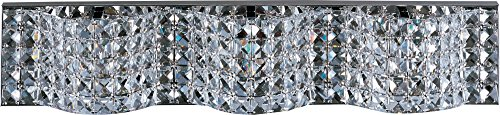 ET2 E24277-20PC Wave 3-Light Bath Vanity, Polished Chrome Finish, Crystal Glass, G9 Xenon Bulb, 20W Max., Dry Safety Rated, 2900K Color Temp., Electronic Low Voltage (ELV) Dimmable, CRYSTAL Shade Material, 320 Rated Lumens