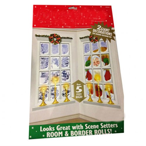 Christmas Party Frosted Window Decoration Scene Setters x 2