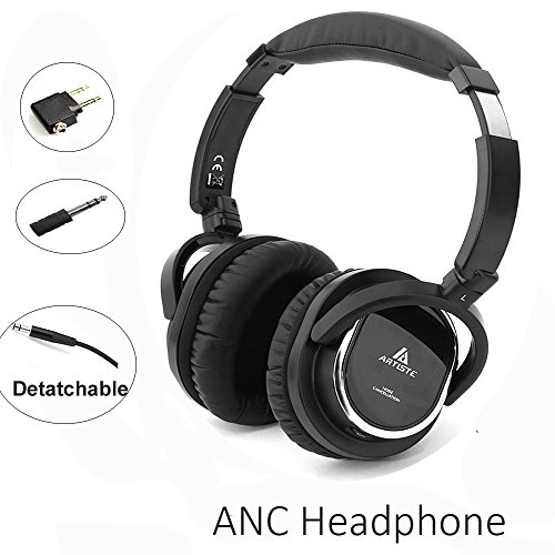Acoustic Noise Cancelling Headphone,Artiste On-ear Over Ear Noise isolation Airline Headset Headphones with Airline Headphone Converter Mic