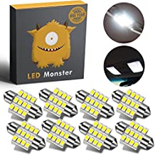 LED Monster 8-Pack White 31mm Canbus Error Free Festoon LED Light Bulbs 12-SMD for Interior Lights Map Dome Door Courtesy Light Bulbs DE3021 3175