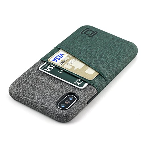 Dockem Luxe Wallet Case for iPhone X; Card Case w/UltraGrip Canvas Style Synthetic Leather, Slim Professional Snap On Cover, 2 Card Holder Slots [Dark Green and Grey]