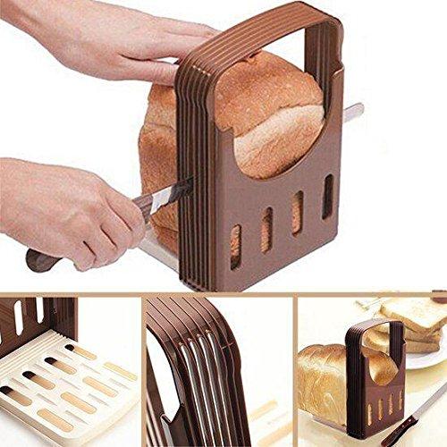 HK Kitchen Easy Use LOAF CUTTER -Bread Slicer & Guide, Portable, Foldable, Even Size Slices & SMILEY Face Magnet hkm