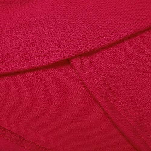 Sweatshirt Cappuccio Felpa EU Felpe Lungo Pullover Maniche Donna Crop Camicetta Felpe Asimmetrico Abbigliamento Corte Top Lunghe Ulanda Blusa Sportivo Rosso con Tuniche Orlo Donna sciolte xqAUIIZ