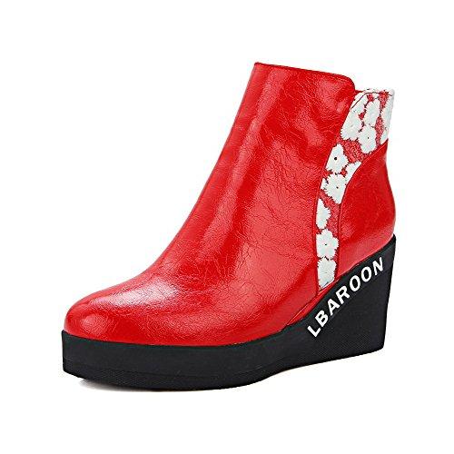VogueZone009 Damen Weiches Material Rund Zehe Rein Knöchel Hohe Wedges Stiefel Rot