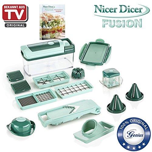 Nicer Dicer Fusion by Genius | 16 pieces | Fruit vegetable slicer | Food-Chopper PRO| Mandoline | Kitchen-Cutter Dicer | Stainless Steel |Spiralizer | Spiral Slicer | As seen on TV