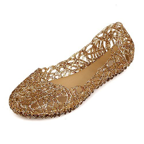 Domucos Cut Out Glitter Sprinkled Jelly Flats Women Shoes Summer Sandals Breathable Outdoor Shoes-gold-7-38 ()